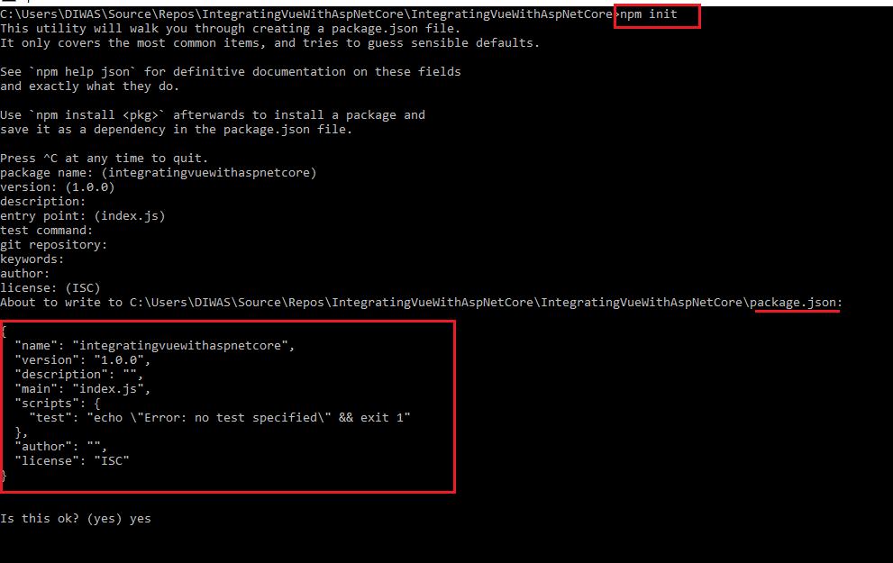 Integrating Vue JS in Asp Net Core Application