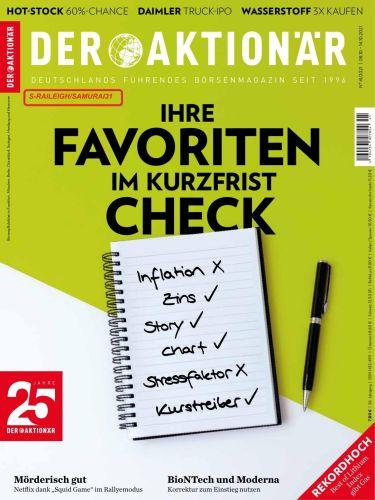 Cover: Der Aktionär Magazin No 41 vom 08  Oktober 2021