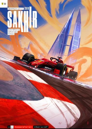 BAHRAIN 2019 F1 FERRARI GRAND PRIX COVER ART RACE POSTER DVD