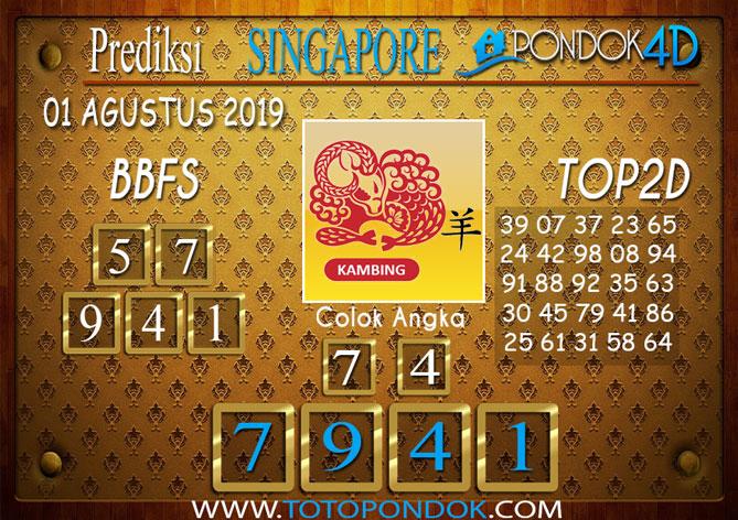 Prediksi Togel SINGAPORE PONDOK4D 01 AGUSTUS 2019