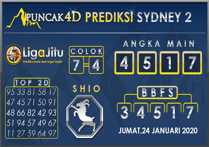 PREDIKSI TOGEL SYDNEY2 PUNCAK4D 24 JANUARI 2020