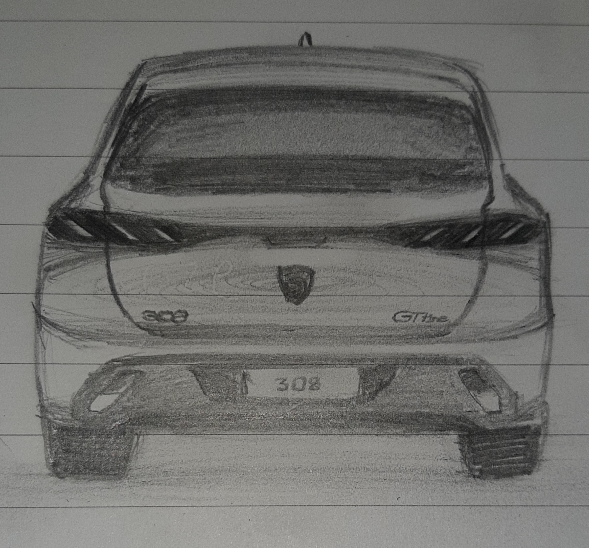 Mi boceto del Peugeot 308, es tan preciso como lo veo de acuerdo con cada foto espía en la parte trasera.
