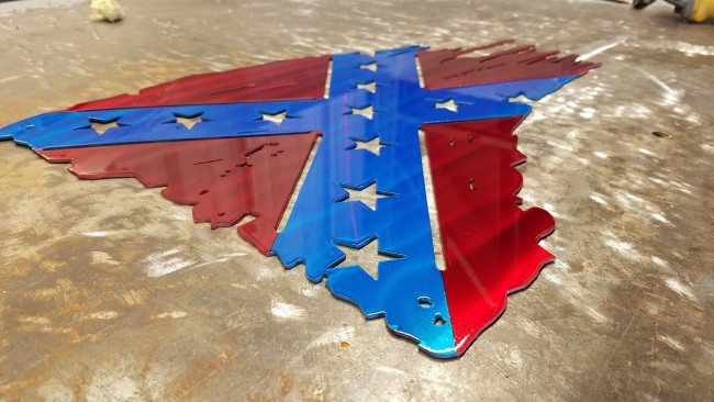 U.S CONFEDERATE FLAG TATTERED AND TORN METAL ART 1