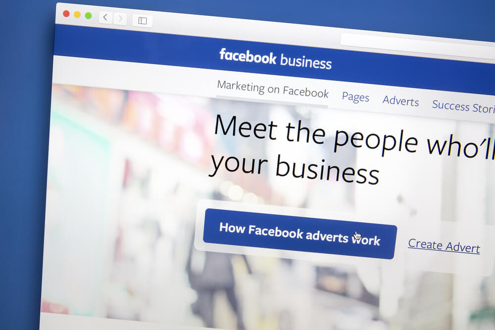 laptop screen on facebook business creation page