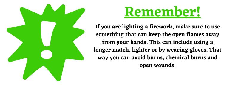 lighting a firework and firework safety