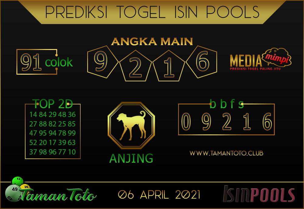 Prediksi Togel ISIN TAMAN TOTO 06 APRIL 2021