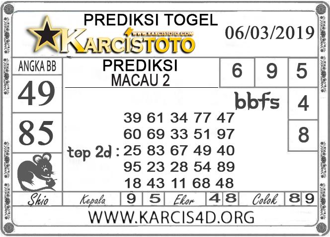 Prediksi Togel MACAU 2 KARCISTOTO 06 MARET 2019