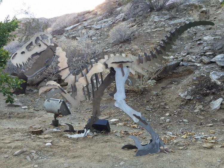 velociraptor dinosaur garden art display laser cut steel