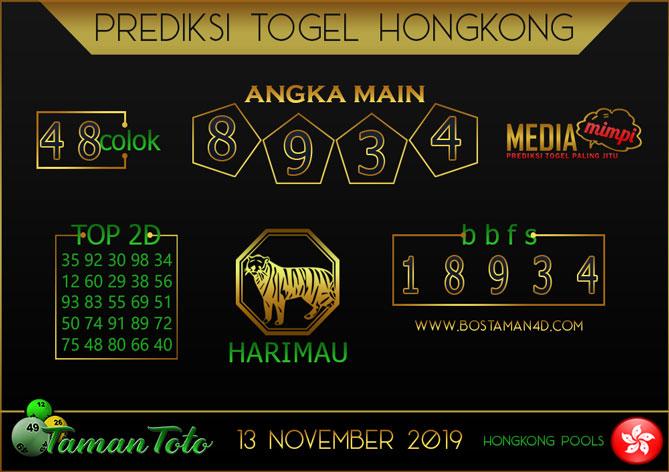 Prediksi Togel HONGKONG TAMAN TOTO 13 NOVEMBER 2019