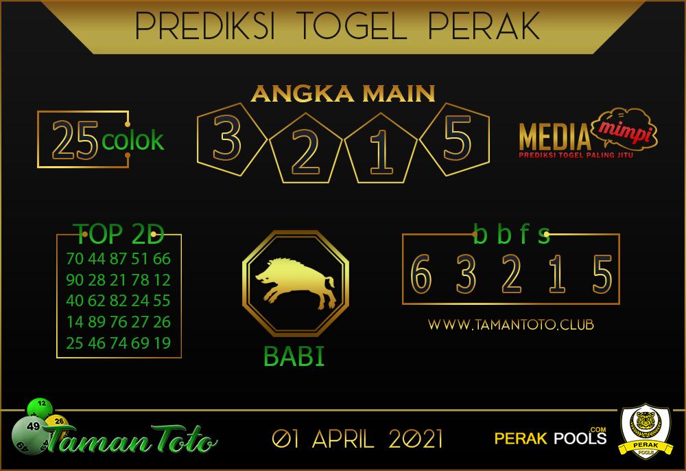 Prediksi Togel PERAK TAMAN TOTO 01 APRIL 2021