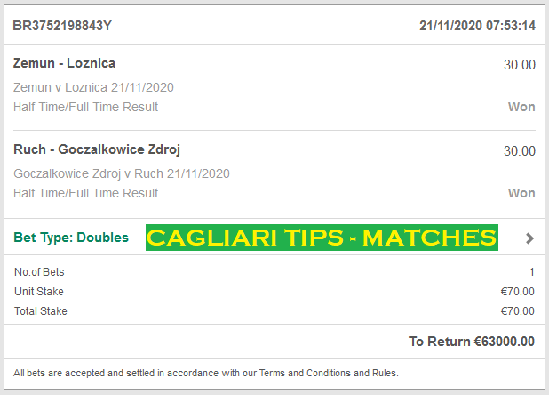 CAGLIARI TIPS - MATCHES