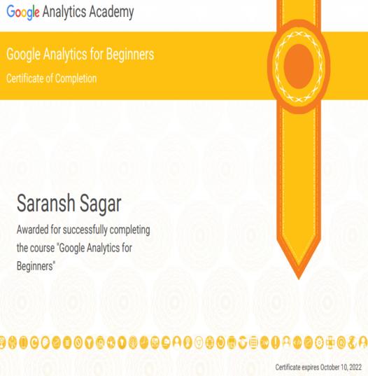 Saransh Sagar Certifications
