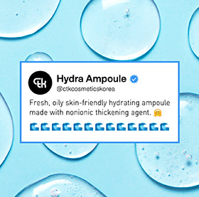 Fresh, oily skin friendly hydrating ampoule made with nonionic thickening agent.
