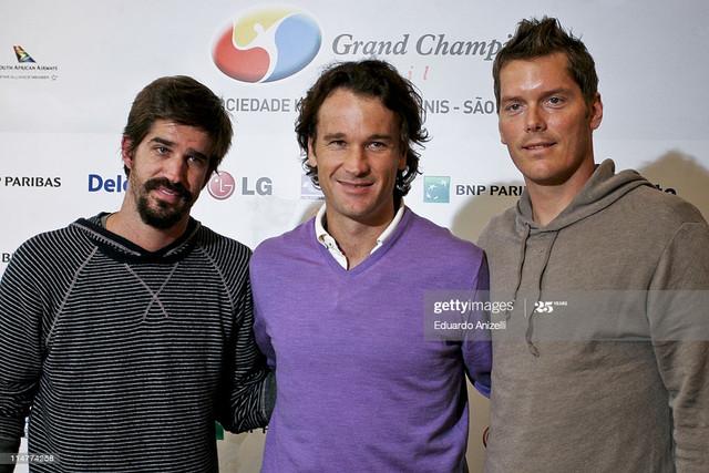 SAO-PAULO-BRAZIL-MAY-26-Former-tennis-players-Flavio-Saretta-Carlos-Moya-and-Thomas-Enqvist-during-a