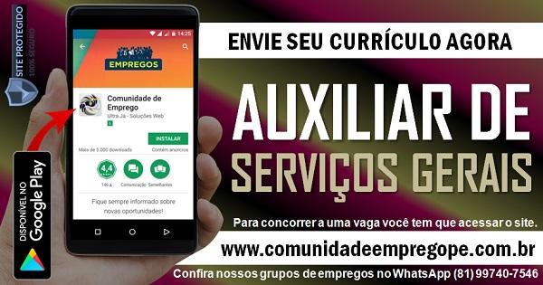AUXILIAR DE SERVIÇOS GERAIS COM SALÁRIO DE R$ 1066,12 EMPRESA DE SERVIÇOS DE TERCEIRIZAÇÃO