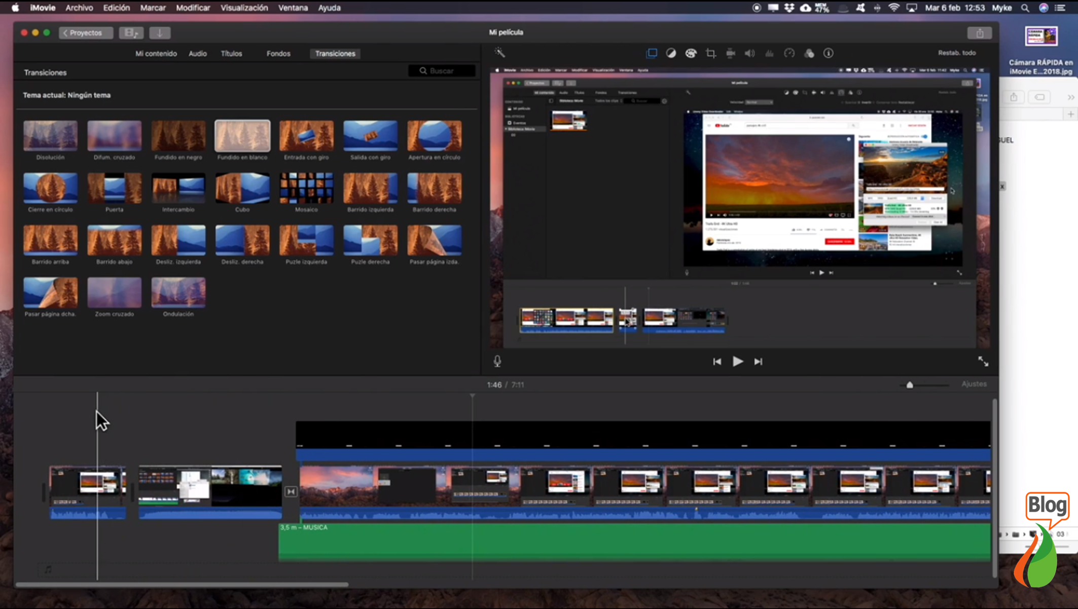 Editar vídeos con iMovie.