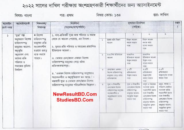 SSC 1st Week Bangla Assignment