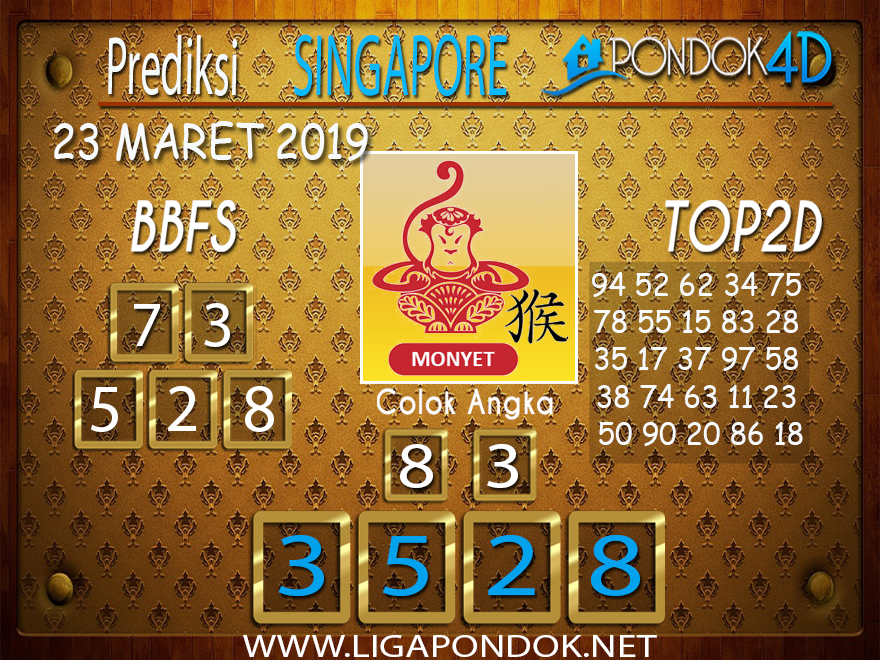 Prediksi Togel  SINGAPORE PONDOK4D 23  MARET 2019