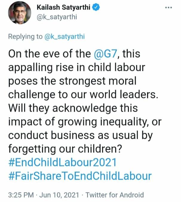 satyarthi's tweet