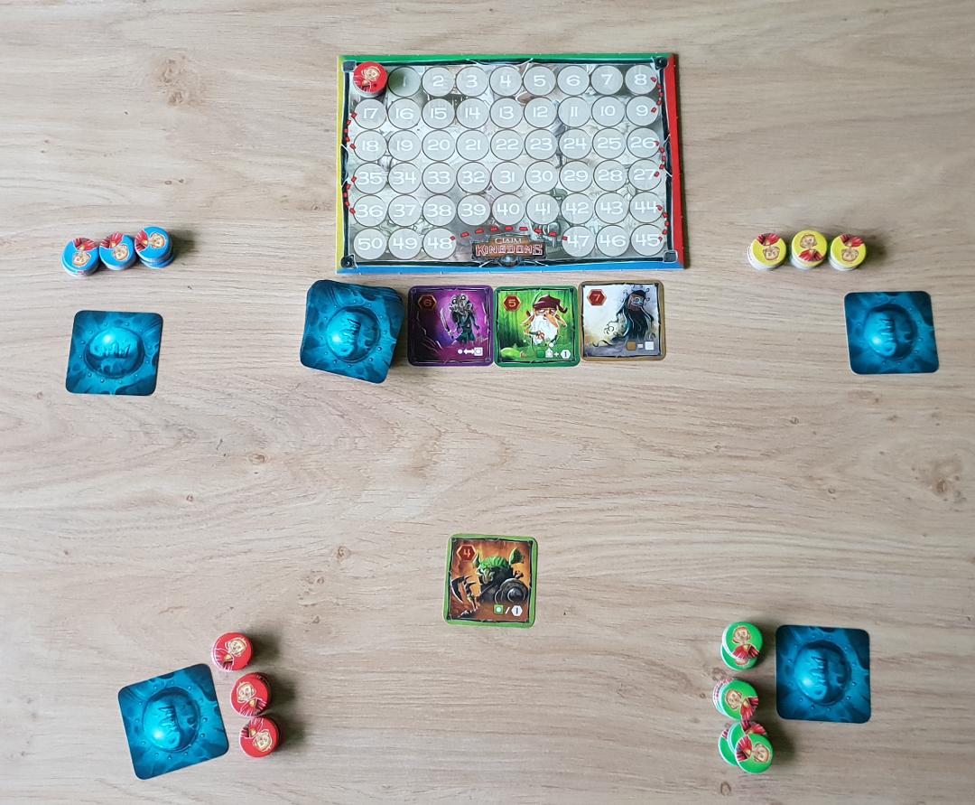 Een vier-speler-spel klaar om te beginnen.