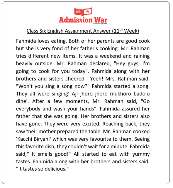 Class 6 English assignment answer (11th Week)
