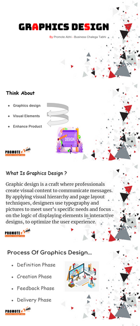 """Graphics is an integral part of any work. And it's been rightly said- """"Design creates culture. Culture shapes values. Values determine the future."""" PROMOTE ABHI, being the best graphic designing agency in Delhi understands this. And provide a variety of top graphic design services to help you communicate with your customers effectively and effortlessly. We ensure that our creativity stimulates potential customers and make them do what you want them to do. Visit - https://www.promoteabhi.com/graphic-design-services.php"""
