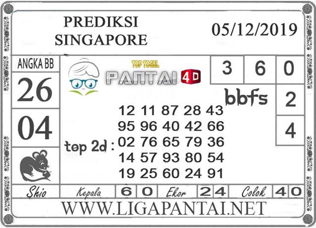 PREDIKSI TOGEL SINGAPORE PANTAI4D 05 DESEMBER 2019