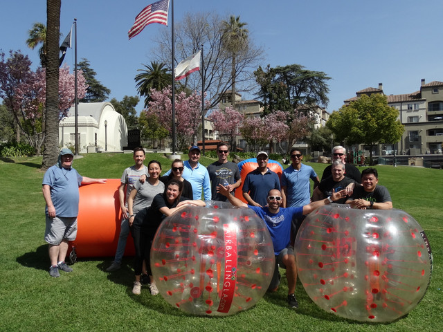 Archery Tag and Bubble Soccer for team building serviced by AirballingLA on March 29, 2019.