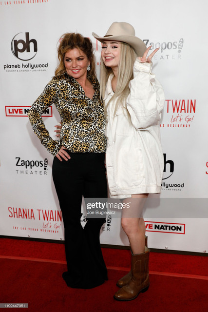 LAS-VEGAS-NEVADA-DECEMBER-06-Shania-Twain-and-singer-Kim-Petras-pose-on-the-red-carpet-following-the