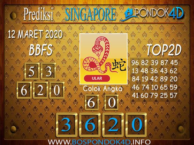 Prediksi Togel SINGAPORE PONDOK4D 12 MARET 2020