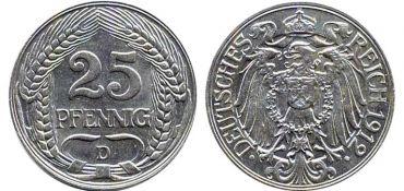 Монета в 25 пфеннигов образца 1912 года