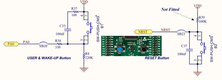 Schematics snapshot of Buttons in STM32F3 Discovery Board