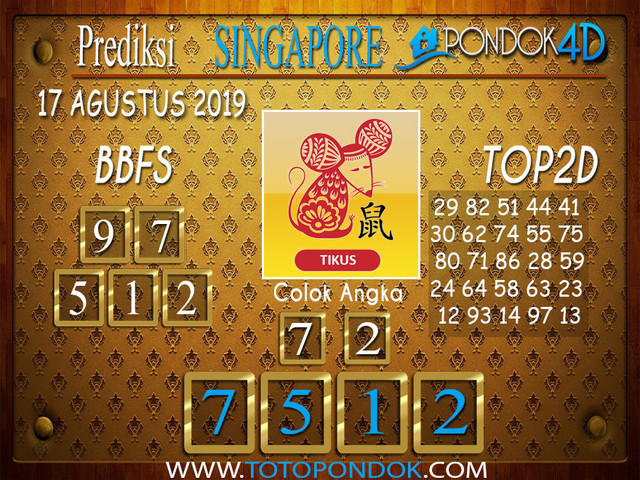 Prediksi Togel SINGAPORE PONDOK4D 17 AGUSTUS 2019