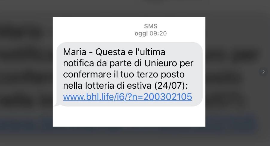 Truffa Lotteria Estiva: Falsi Messaggi SMS con Regali dell'ignara UNIEURO