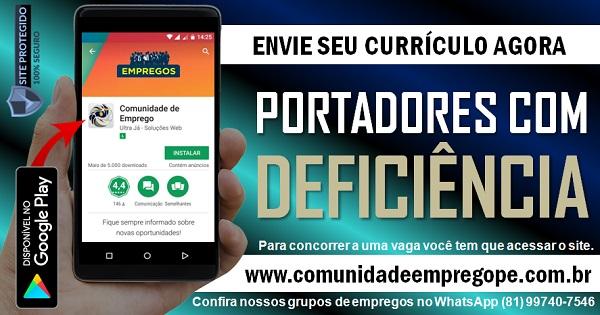 AUXILIAR DE PRODUÇÃO - PCD PORTADOR COM DEFICIÊNCIA PARA INDÚSTRIA EM GOIANA