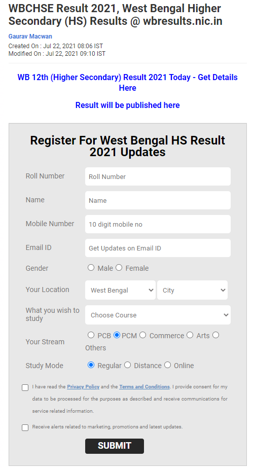 check West Bengal HS results at jagranjosh.com