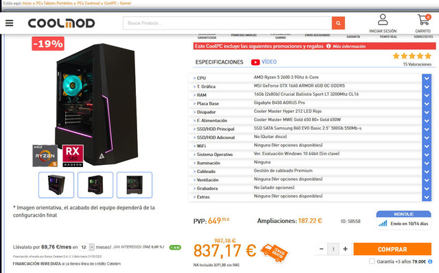 Ordenador para programacion y Aprendizaje Profundo (Deep Machine) 800 euros