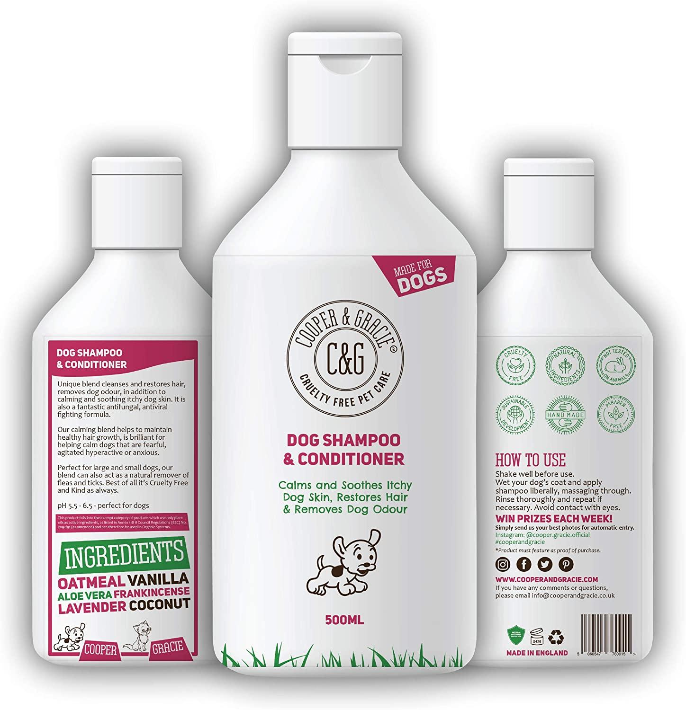 Champú para perros con olor y piel sensible al picor de C&G, acondicionador medicado seguro para cachorros, 500 ml