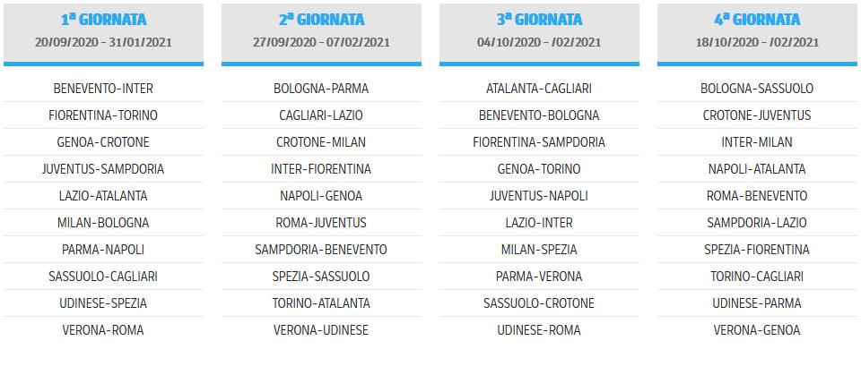 Calendario Serie A 2020 2021 Calcio, da scaricare in PDF