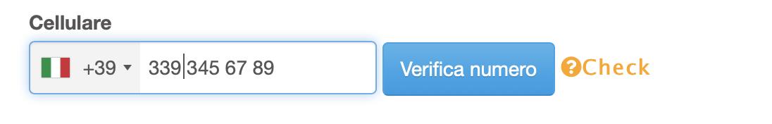 Numero da verificare, è necessario premere il pulsante VERIFICA