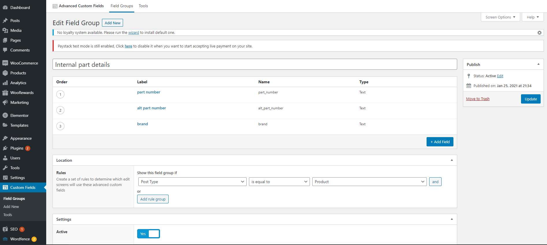 ACF fields to display in admin columns