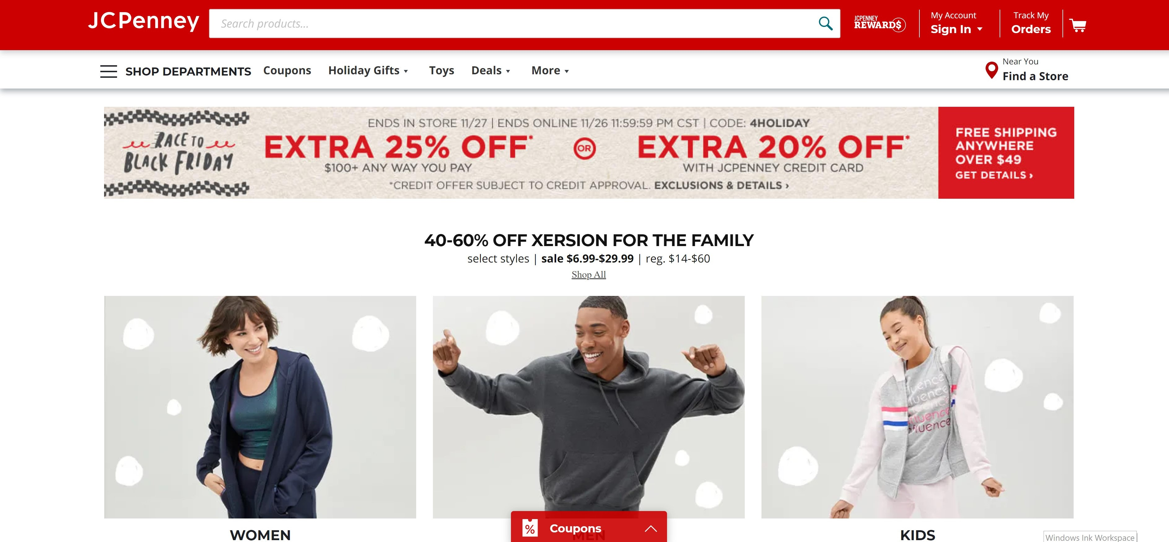 JC Penney Website (Nov 2019)