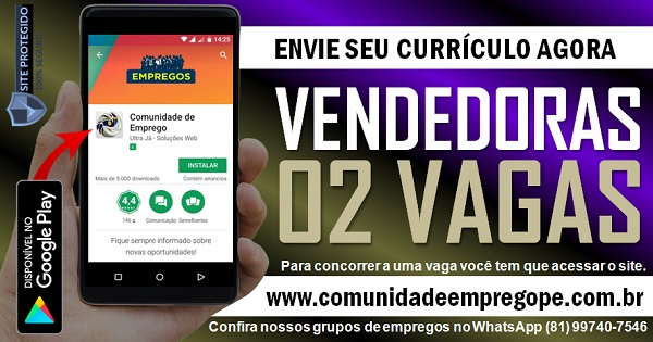 VENDEDORA, 02 VAGAS PARA EMPRESA DE ARTIGOS PARA FESTA NO RECIFE