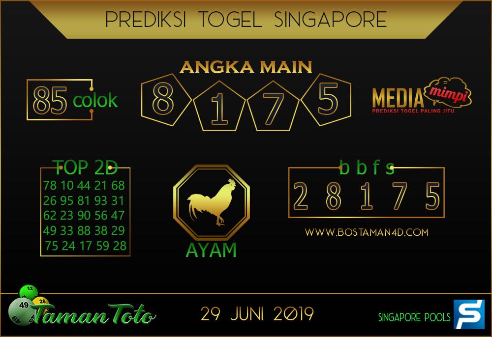 Prediksi Togel SINGAPORE TAMAN TOTO 29 JUNI 2019