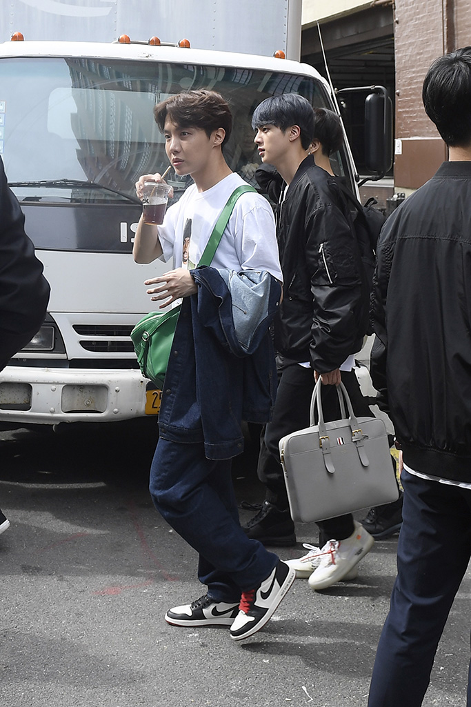 The Bts Men In Hype Beasts Clothing Shoes In Nyc Along With Their
