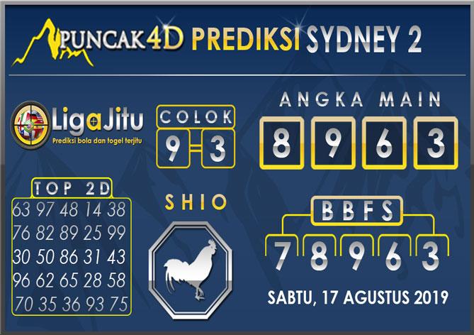 PREDIKSI TOGEL SYDNEY2 PUNCAK4D 17 AGUSTUS 2019