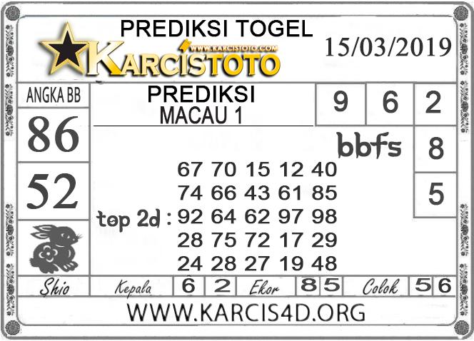 Prediksi Togel MACAU 1 KARCISTOTO 15 MARET 2019