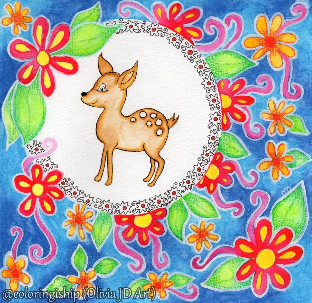 Watercolor Deer Painting