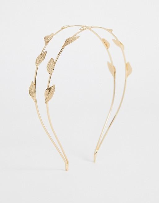 ASOS DESIGN Double Row Headband With Leaf Embellishment -hair-accessory