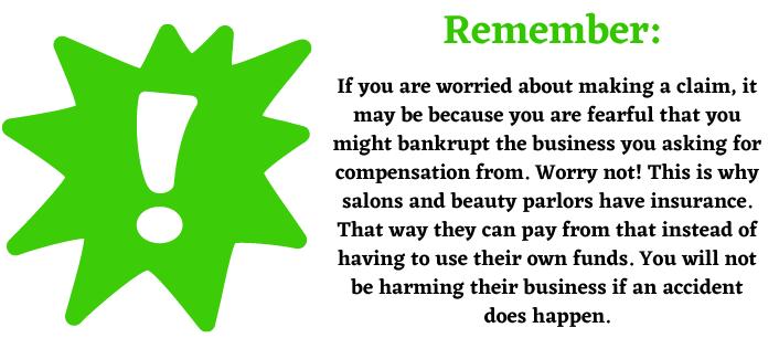 beauty parlors compensation help